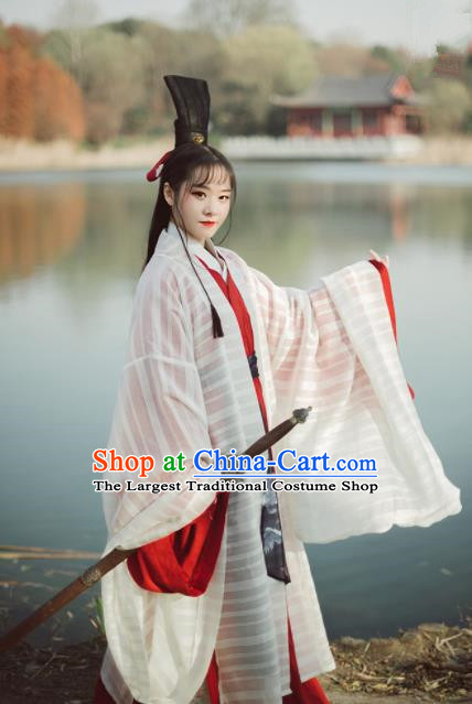 Chinese Ancient Swordswoman Hanfu Dress Traditional Jin Dynasty Historical Costumes Complete Set for Women