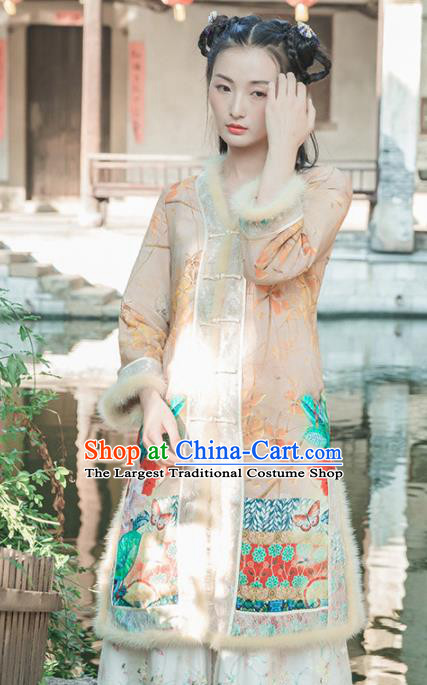 Chinese Traditional Costumes National Upper Outer Garment Silk Qipao Coat for Women