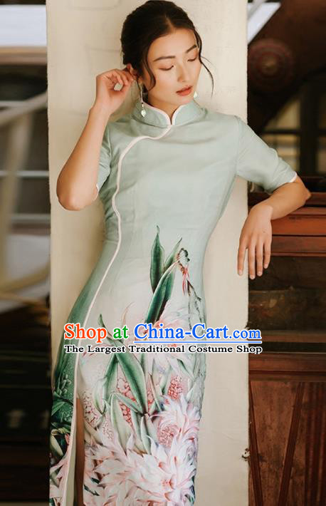 Chinese Traditional Costumes National Printing Green Qipao Dress Tang Suit Cheongsam for Women