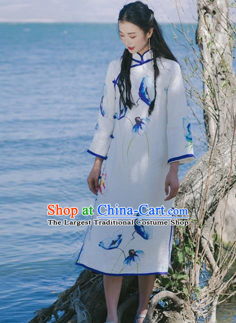 Chinese Traditional Costumes National White Qipao Dress Tang Suit Cheongsam for Women