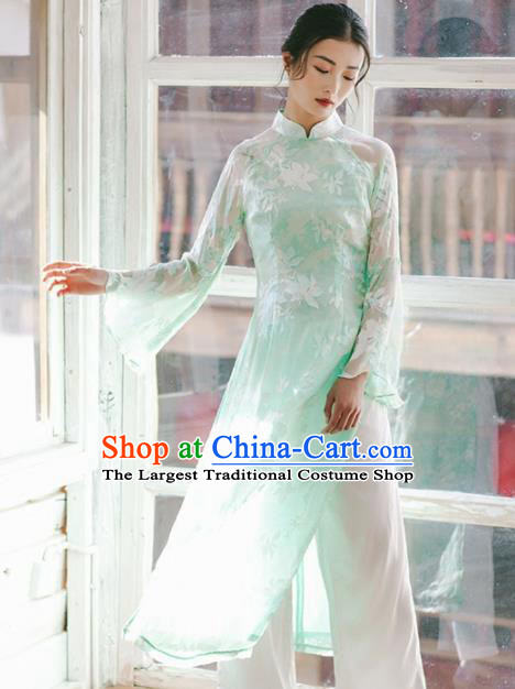 Chinese Traditional Costumes National Green Veil Qipao Dress Tang Suit Cheongsam for Women