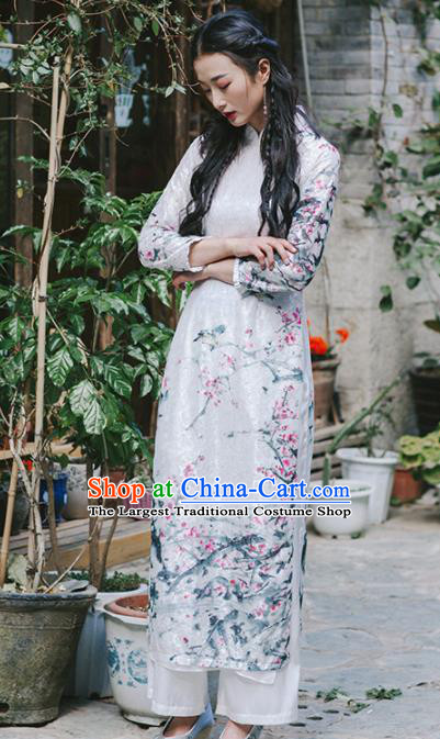 Chinese Traditional Costumes National Aodai Qipao Dress Tang Suit Cheongsam for Women
