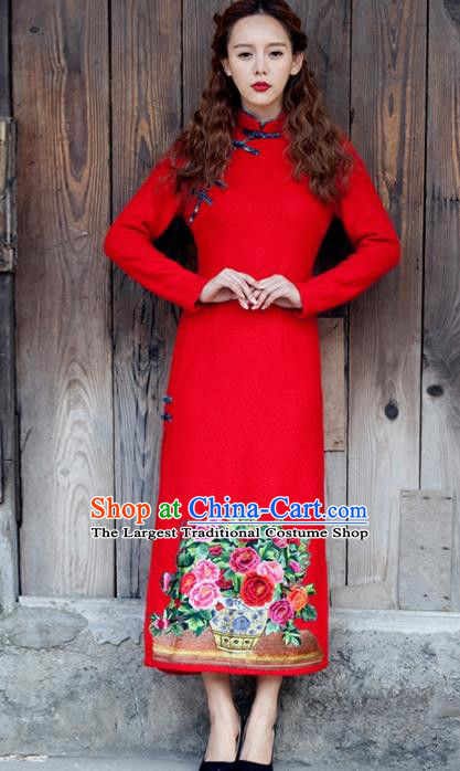 Chinese National Costumes Red Wedding Qipao Dress Traditional Tang Suit Cheongsam for Women
