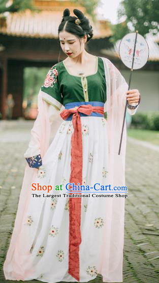 Chinese Traditional Tang Dynasty Court Princess Historical Costumes Ancient Peri Hanfu Dress for Women