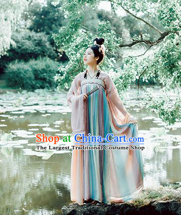 Chinese Traditional Tang Dynasty Historical Costumes Ancient Palace Princess Court Maid Hanfu Dress for Women