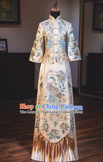 Chinese Traditional Wedding Costumes Bride Toast White Xiuhe Suits Ancient Embroidered Full Dress for Women