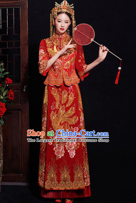Chinese Traditional Bride Embroidered Phoenix Peony Xiuhe Suits Ancient Handmade Wedding Costumes for Women