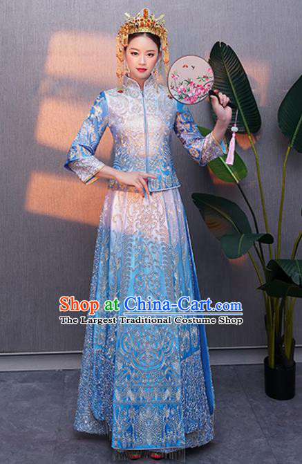 Chinese Traditional Bride Embroidered Blue Xiuhe Suits Ancient Handmade Wedding Costumes for Women