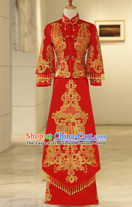 Chinese Traditional Bride Embroidered Xiuhe Suits Ancient Handmade Red Wedding Costumes for Women