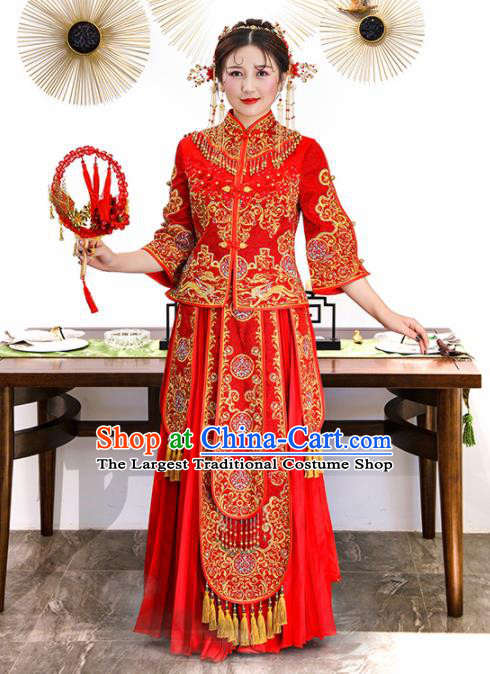 Chinese Traditional Bride Xiuhe Suits Ancient Handmade Embroidered Red Wedding Costumes for Women