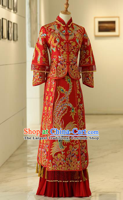 Chinese Traditional Bride Xiuhe Suits Ancient Handmade Red Embroidered Phoenix Wedding Dresses for Women