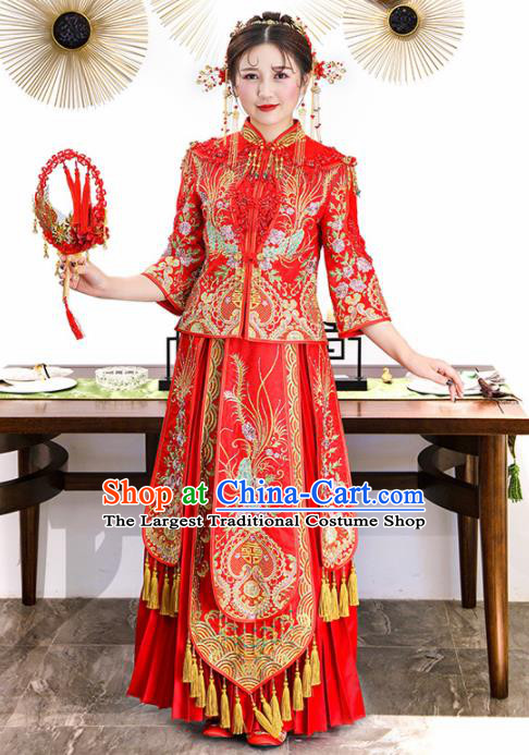 Chinese Traditional Bride Xiuhe Suits Ancient Handmade Red Embroidered Phoenix Peony Wedding Dresses for Women