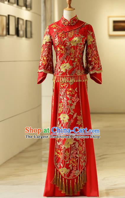 Chinese Traditional Bride Embroidered Tang Suit Xiuhe Suits Ancient Handmade Red Wedding Costumes for Women
