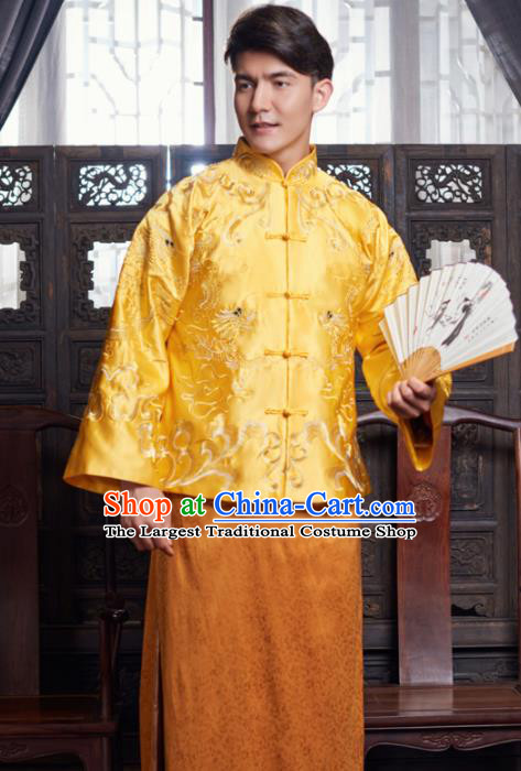 Chinese Traditional Wedding Golden Gown Ancient Bridegroom Embroidered Costumes for Men
