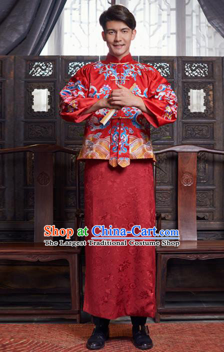 Chinese Traditional Wedding Red Mandarin Jacket Gown Ancient Bridegroom Embroidered Costumes for Men