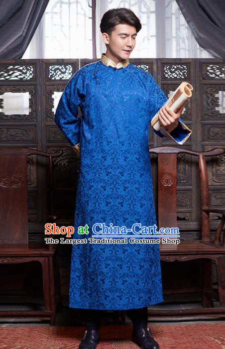 Chinese Traditional Wedding Royalblue Gown Ancient Bridegroom Embroidered Costumes for Men