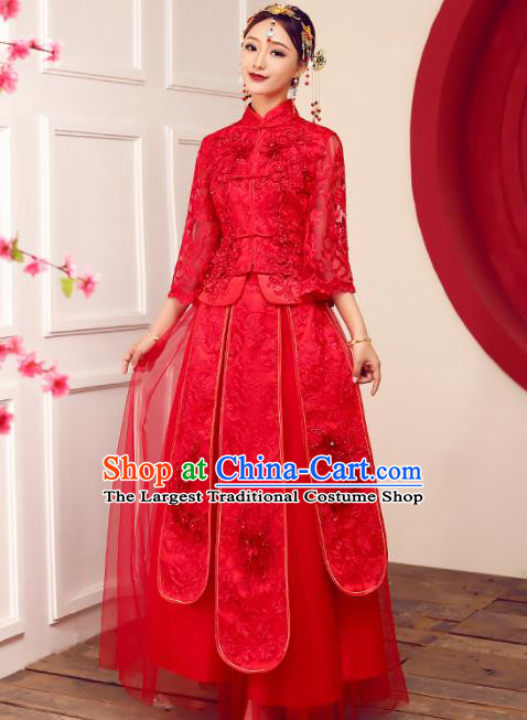 Chinese Traditional Wedding Dress Ancient Bride Embroidered Lace Xiuhe Suits Costumes for Women
