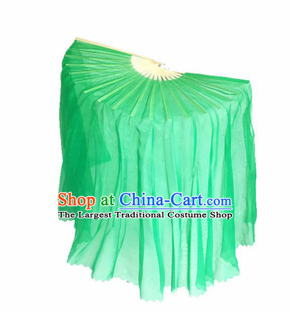 Chinese Traditional Folk Dance Props Classical Dance Fans Green Silk Fans