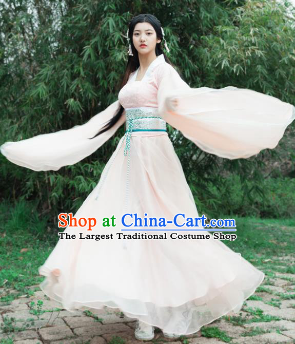 Traditional Chinese Ancient Fairy Costumes Tang Dynasty Drama Palace Princess Pink Hanfu Dress for Women