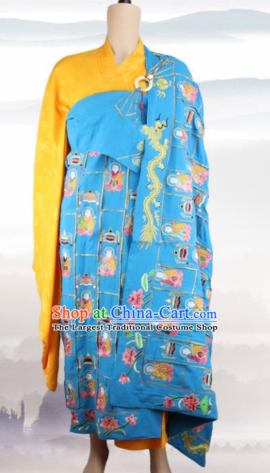Chinese Traditional Buddhist Embroidered Buddha Blue Cassock Buddhism Dharma Assembly Monks Costumes for Men