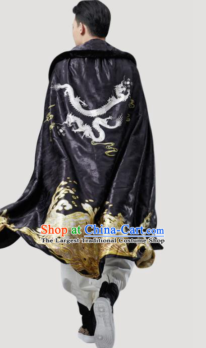 Chinese Traditional Costume Tang Suits Cloak National Black Cape for Men
