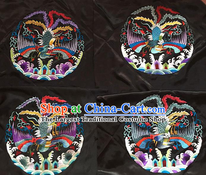 Chinese Traditional Embroidery Craft Embroidered Phoenix Patches Handmade Embroidering Accessories
