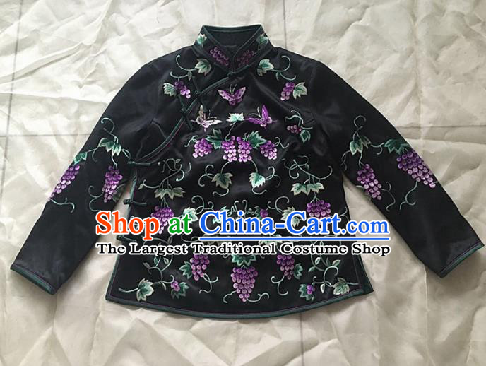 Chinese Traditional Costume Tang Suit Embroidered Qipao Blouse National Silk Shirt for Women