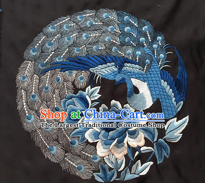 Chinese Traditional Embroidery Craft Embroidered Phoenix Peony Silk Patches Handmade Embroidering Accessories