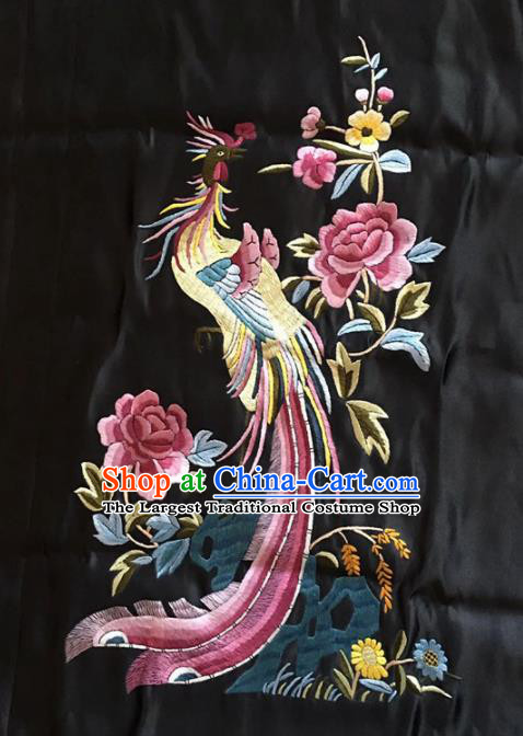 Chinese Traditional Handmade Embroidery Craft Embroidered Phoenix Peony Silk Patches Embroidering Accessories