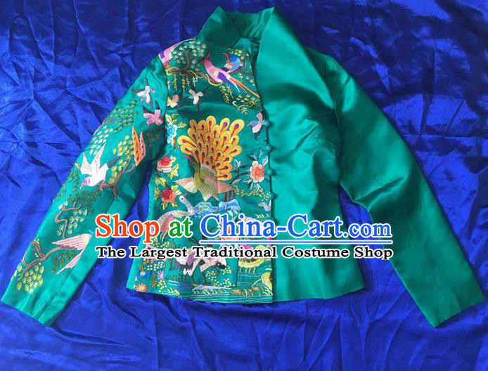 Chinese Traditional Costume Tang Suit Embroidered Green Blouse National Silk Qipao Coat for Women