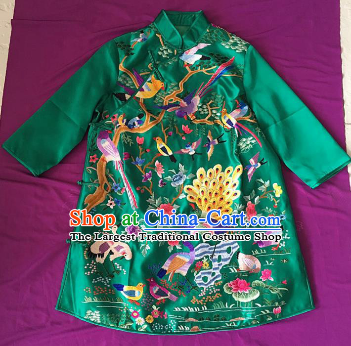 Chinese Traditional Costume Tang Suit Embroidered Green Qipao National Silk Cheongsam for Women