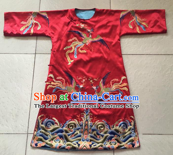 Chinese Traditional Costume Tang Suit Embroidered Phoenix Red Silk Qipao Dress for Women