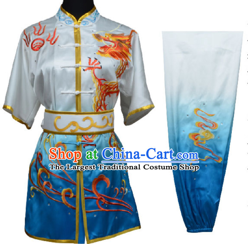 Top Color Transition Chinese Embroidered Phoenix Dragon Gongfu Outfits Martial Arts Suit Complete Set for Men or Women