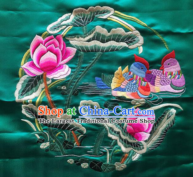 Asian Chinese Traditional Embroidered Mandarin Duck Lotus Green Silk Patches Handmade Embroidery Craft