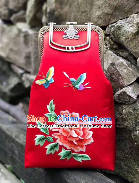Chinese Traditional Embroidered Peony Red Handbag Handmade Embroidery Craft Silk Bags