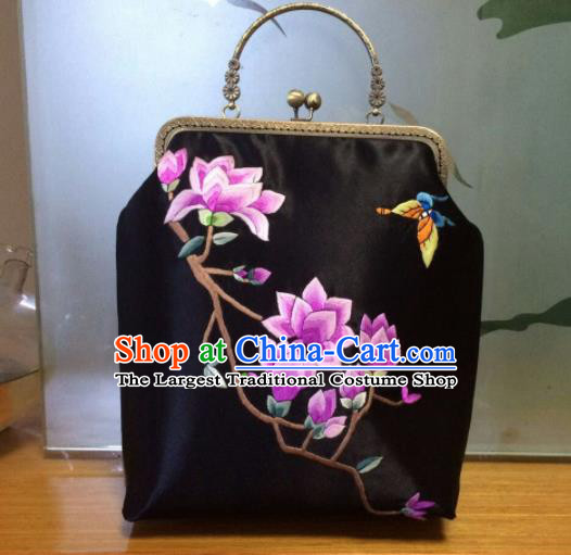 Chinese Traditional Embroidered Magnolia Black Handbag Handmade Embroidery Craft Silk Bags