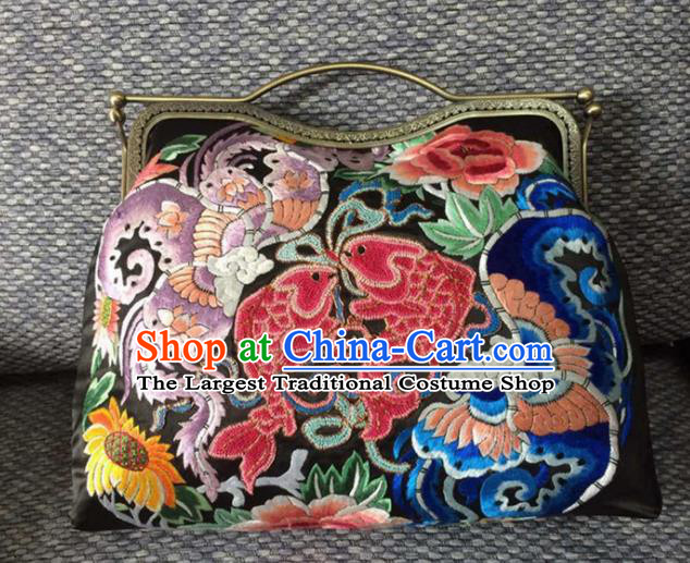 Chinese Traditional Embroidered Fishes Black Handbag Handmade Embroidery Craft Silk Bags