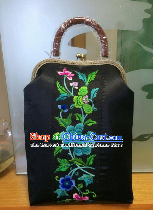 Chinese Traditional Embroidered Peony Black Handbag Handmade Embroidery Craft Silk Bags