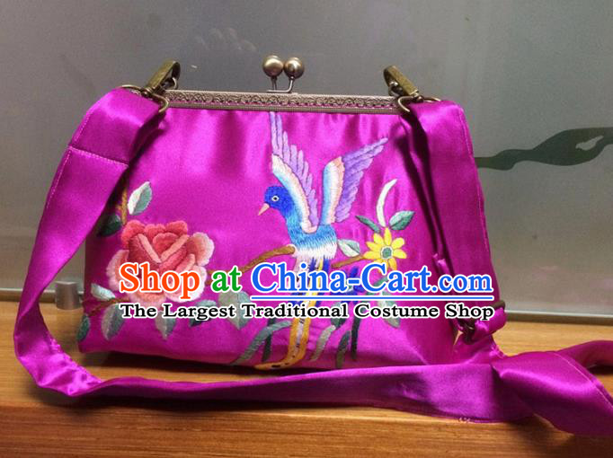 Chinese Traditional Embroidered Peony Rosy Handbag Handmade Embroidery Craft Silk Bags