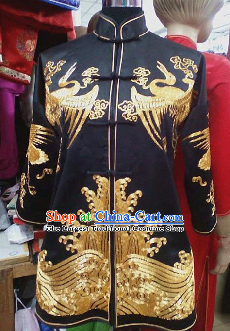 Chinese Traditional Silk Costume Tang Suit Embroidered Crane Black Silk Shirt for Men