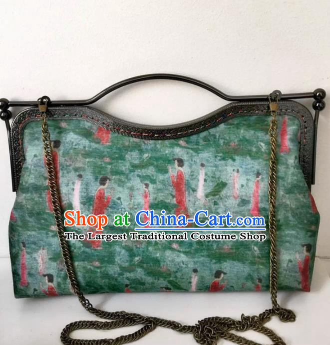 Chinese Traditional Green Handbag Handmade Embroidery Craft Silk Bags