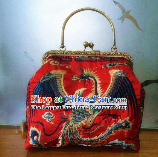 Chinese Traditional Embroidered Phoenix Red Handbag Handmade Embroidery Craft Silk Bags