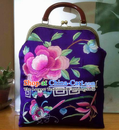 Chinese Traditional Embroidered Peony Purple Handbag Handmade Embroidery Craft Silk Bags