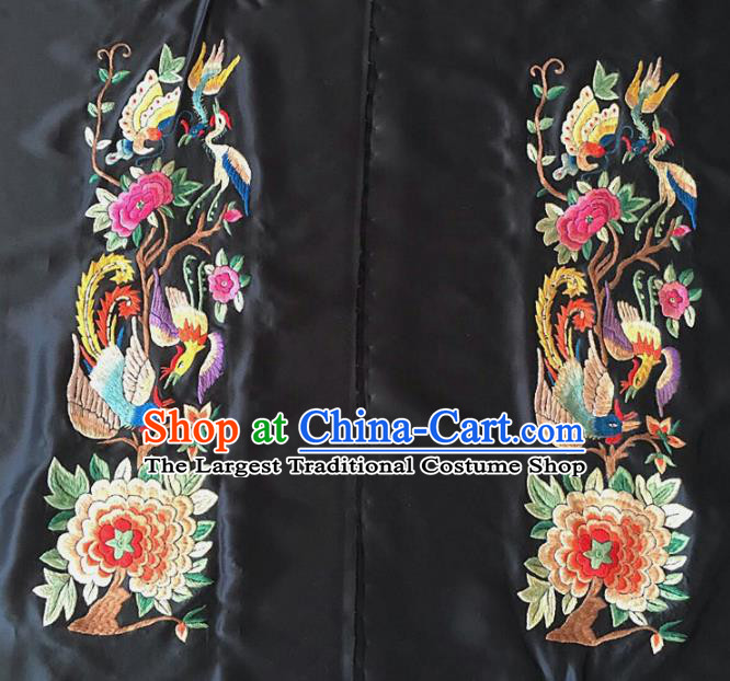 Chinese Traditional Embroidered Phoenix Cloth Patches Handmade Embroidery Craft Silk Fabric