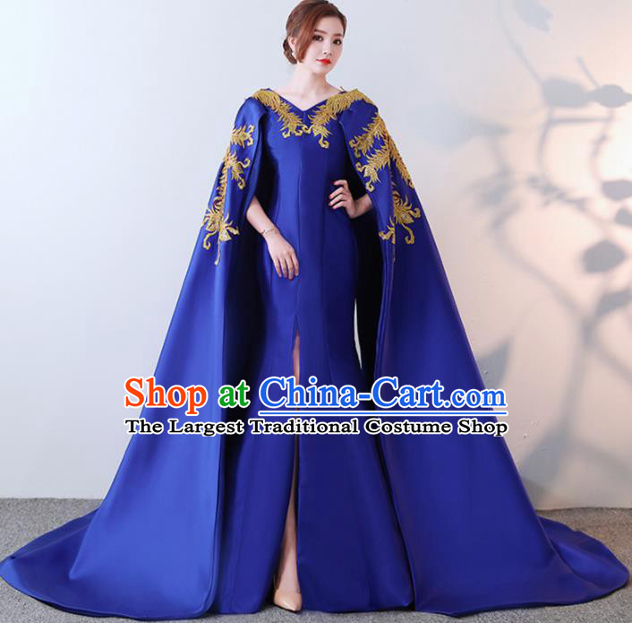 Chinese Traditional Costumes Elegant Royalblue Full Dress Qipao Dress for Women