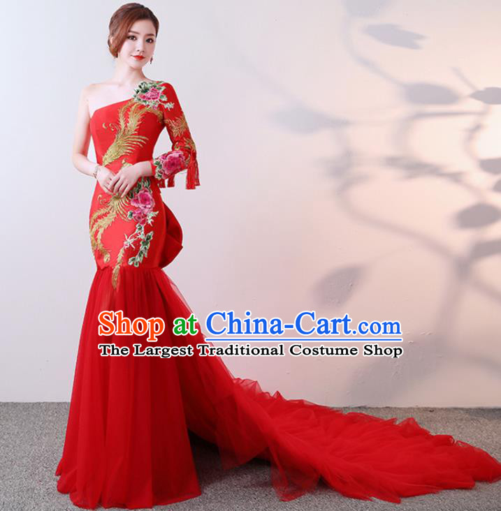 Chinese Traditional Costumes Elegant Embroidered Peony Full Dress Wedding Qipao Dress for Women