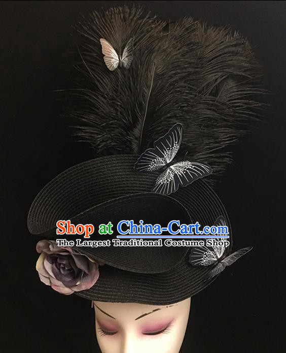Top Halloween Hair Accessories Brazilian Carnival Catwalks Black Feather Top Hat for Women