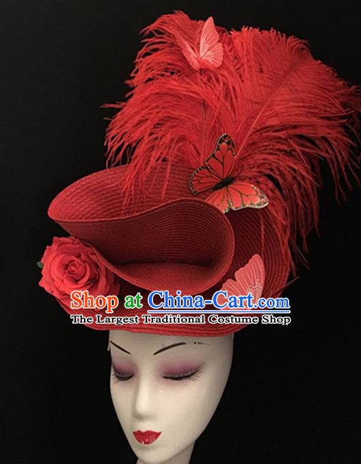 Top Halloween Hair Accessories Brazilian Carnival Catwalks Red Feather Top Hat for Women
