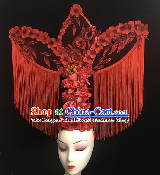 Top Halloween Hair Accessories Chinese Traditional Catwalks Red Tassel Headdress for Women