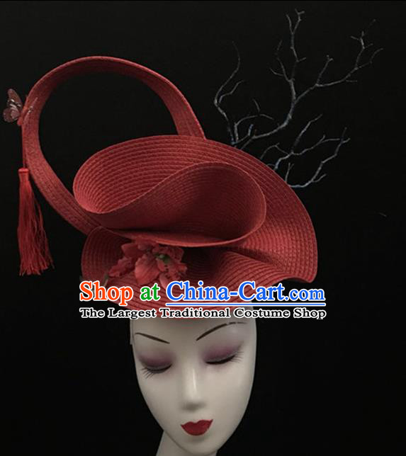 Top Halloween Catwalks Hair Accessories Brazilian Carnival Red Giant Top Hat Headdress for Women